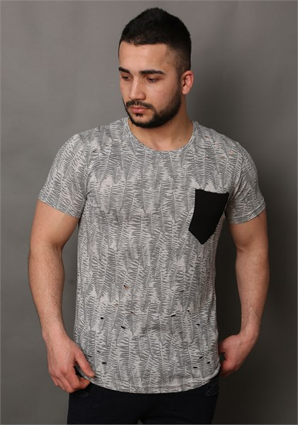 Patternet T-Shirt With Pocket Detail 1443