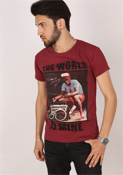 Madmext Red Printed T-Shirt 1396