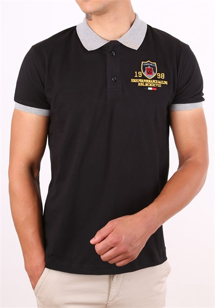 Wiht Logo Black Polo T-Shirt 1422