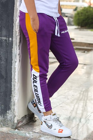 Mens Sweatpant In Striped Design Purple Color