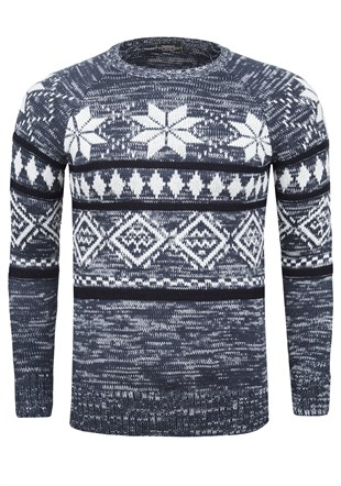Madmext  Patterned Navy Blue Jumper 1552