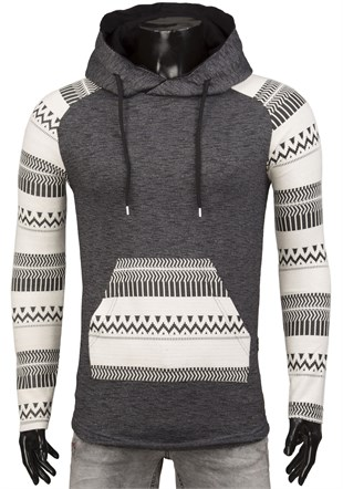 Madmext Hoodie With Aztec Print Sleeves 1578
