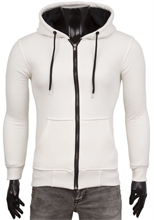 White Casual Zip Front Hoodie 1725