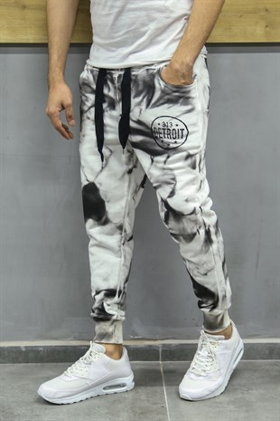 Madmext Printed White Jogger 2704