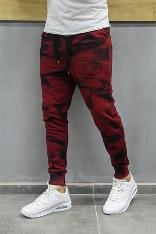 Madmext Printed Burgundy Jogger 2704