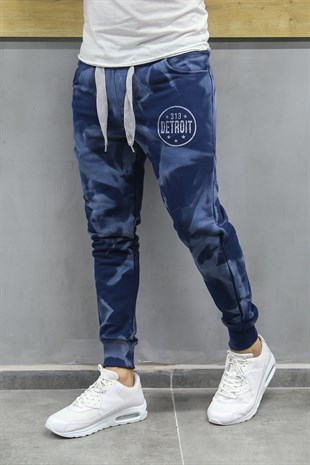 Madmext Printed Navy Blue Jogger 2704