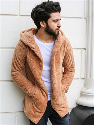 Hooded Plush Cardigan Camel 2860
