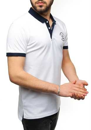 Madmext White Polo Shirt 2346