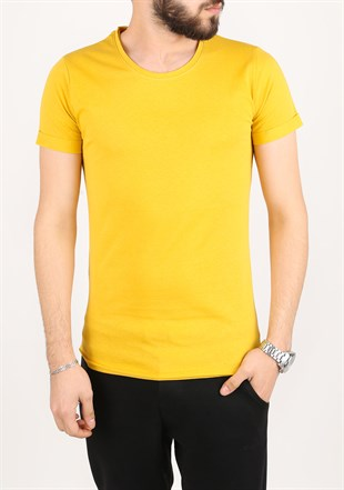Madmext Basic Yellow T-Shirt 2280