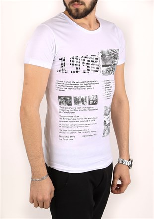 Madmext Printed Whiter T-Shirt 2306