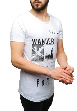 Madmext Printed White T-Shirt 2489