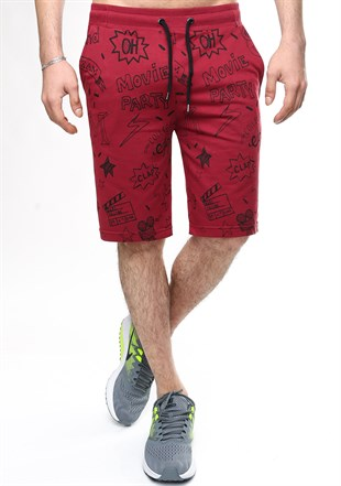 Madmext Patterned Burgundy Shorts 2409
