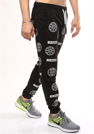 Madmext Patterned Black Joggers 2075