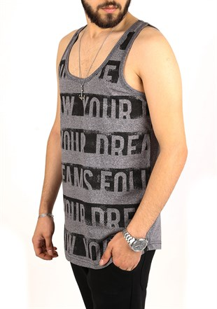Madmext Printed Grey Tank Top 2318