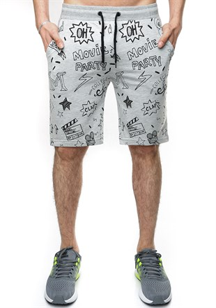 Madmext Patterned Grey Shorts 2409