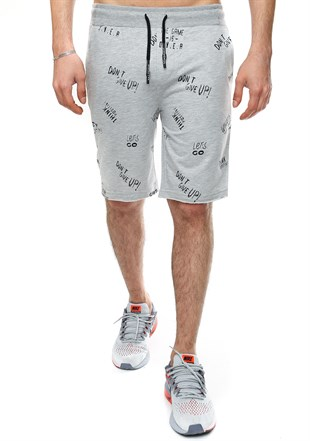 Madmext Printed Daily Grey Shorts 2407