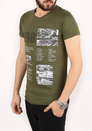 Madmext Printed Khaki T-Shirt 2306