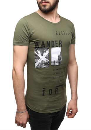 Madmext Printed Khaki T-Shirt 2489