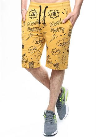 Madmext Patterned Yellow Shorts 2409