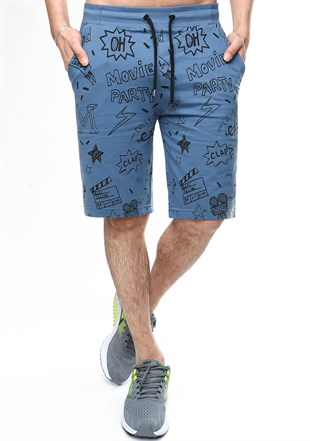Madmext Patterned Indigo Shorts 2409
