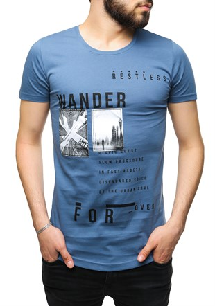 Madmext Printed Indigo T-Shirt 2489