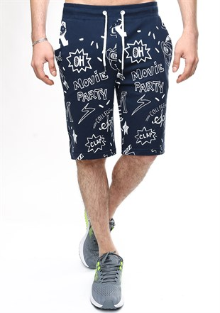 Madmext Patterned Navy Blue Shorts 2409