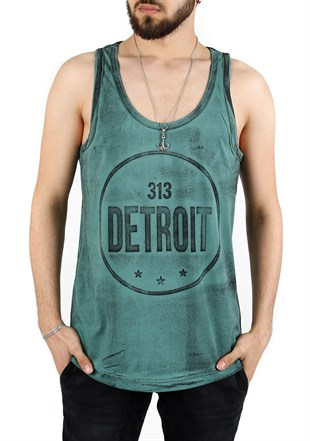 Madmext Printed Green Tank Top 2446