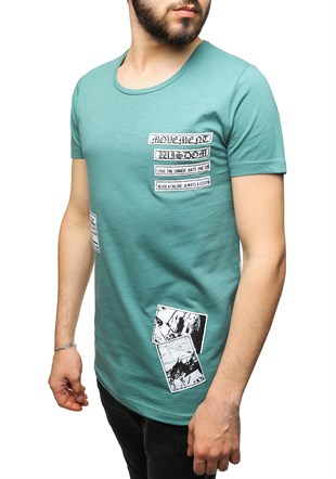 Madmext Printed Green T-Shirt 2473