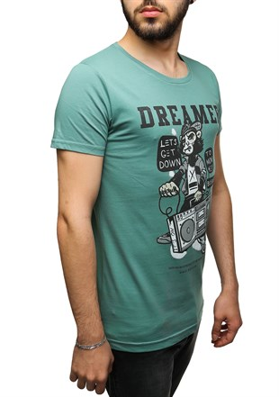 Madmext Printed Green T-Shirt 2469