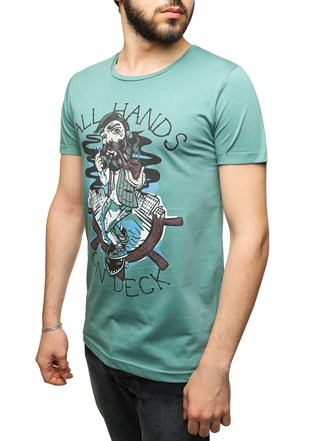 Madmext Printed Green T-Shirt 2470
