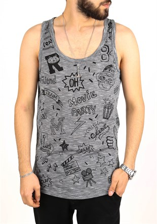 Madmext Printed Black Tank Top 2319