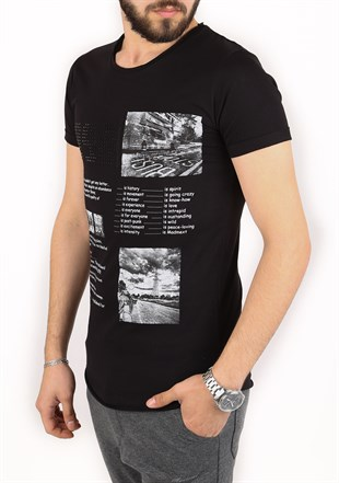 Madmext Printed Black T-Shirt 2451