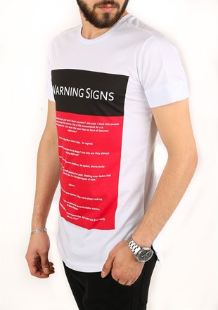 Madmext Printed White T-Shirt 2340