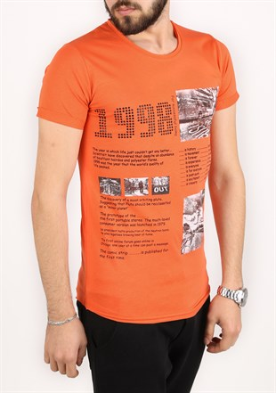 Madmext Printed Orange T-Shirt 2306