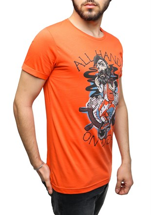 Madmext Printed Orange T-Shirt 2470