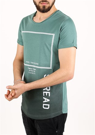 Madmext Printed Green T-Shirt 2333