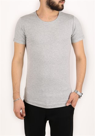 Madmext Basic Grey T-Shirt 2297