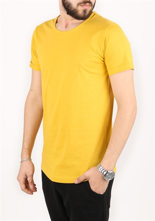 Madmext Basic Yellow T-Shirt 2297