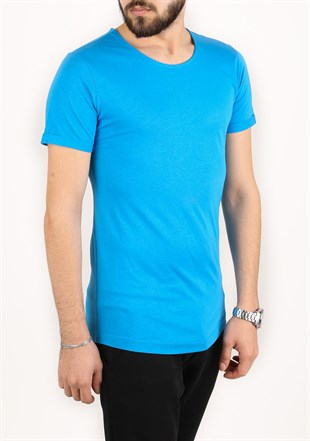 Madmext Basic Blue T-Shirt 2297