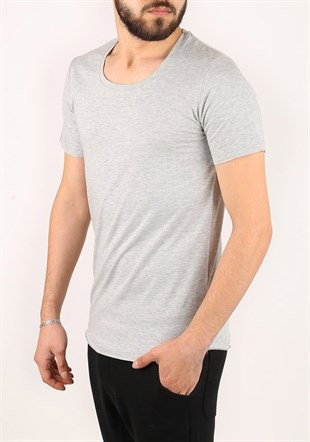 Madmext Basic Grey T-Shirt 2308