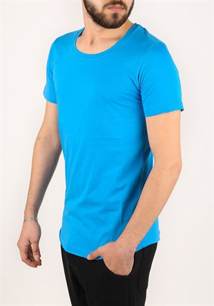 Madmext Basic Blue T-Shirt 2308