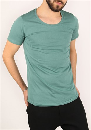 Madmext Basic Green T-Shirt 2308
