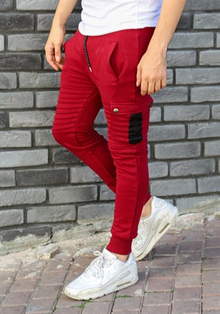 Madmext Slim Fit Burgundy Joggers 2071