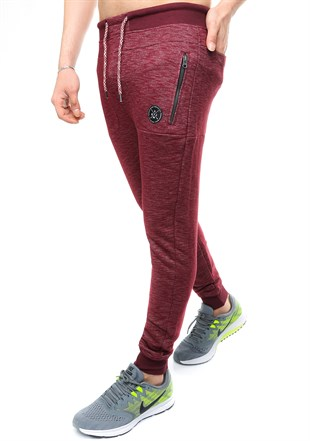 Madmext Slim Fit Burgundy Joggers 2077
