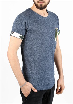 Madmext Casual Navy Blue T-Shirt 2302