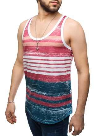 Madmext Printed Burgundy Tank Top 2502