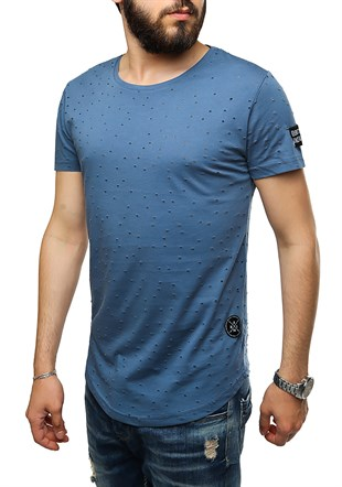 Madmext Super Relaxed Indigo Men T-Shirt 1840