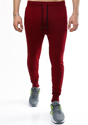 Madmext Casual Burgundy Joggers 2087