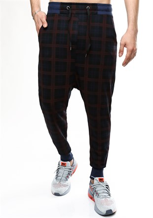 Madmext Checkered Brown Joggers 1135