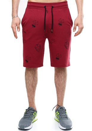 Madmext Patterned Fitness Burgundy Shorts 2410